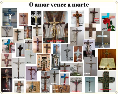 Painel de crucifixos da comunidade